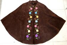 Vintage Queen of the Capes Country Place 100% Brown Suede Flower Embroidery Cape