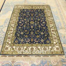 Yilong 4'x6' Blue Handmade Carpets Living Room Hand Knotted Silk Area Rug 191A