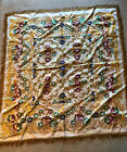"""Vintage Woven Tapestry 50"""" X 54"""" Flowers Red Gold Tablecloth Fringe Reversible"""