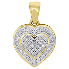 10K Yellow Gold Real Diamond Double Frame Heart Design Pendant Pave Charm 1/6 CT