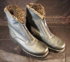 Maxine Black Zipper Front leather fleece lined Chukka boots 7M Canada