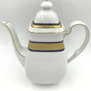 Vintage Scherzer Bavaria Coffee Pot Blue & Gold Encrusted Band Cook O Matic DH4
