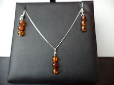 Certified Baltic Cognac Amber 925 Sterling Silver chain NECKLACE & EARRINGS GIFT