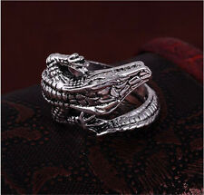 Men's Stainless Steel Silver Fashion Gothic lizard Male Finger Ring Size 11