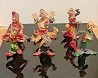 "Lot of 6 Vintage Colorful 2 1/2"" Clowns"