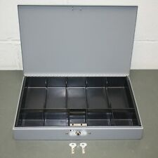 Mmf Steelmaster Cash Box 2215cbtgy With 10 Compartment Tray Gray Black