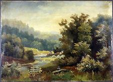 """Ancien Tableau """"Paysage"""" Peinture Huile Antique Oil Painting"""