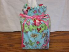 Strawberry Shortcake Flowers Blue Cotton Fabric Handmade Square Tissue Box Cover