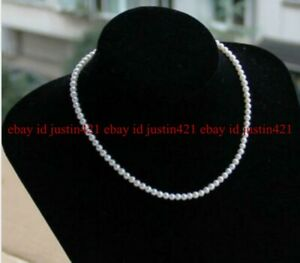 """Classic Small 3-4mm White South Sea Freshwater Pearl Necklace 18"""" AAA+"""