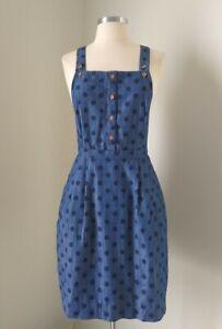 Ladies PRINCESS HIGHWAY pinafore/Dungaree cross back Dress Blue Spots Size 8