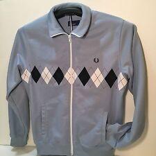 Fred Perry Sportswear Blue Diamond Pattern Full Zip Up Track Jacket Sz M w/ Flaw
