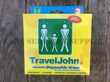 3 x TravelJohn Disposable Urinal - Portable Wee Bag Camping Toilet Festival Loo