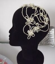 BEADED CRYSTAL BRIDAL HEADPIECE, CAP,WHITE or CREAM, Designer Couture, NEW,Aust.