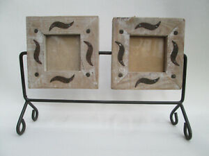 """A Rustic Wood and Metal Double Photo Picture Frame 2"""" x 2"""" Pictures"""