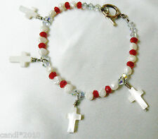 SILVER TOGGLE CLASP BEADED PEARL CRYSTAL MOTHER OF PEARL CROSS CHARM BRACELET