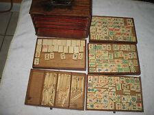 Vtg-1920's-Bamboo-Bone-Mahjong-144pcs Original Wooden Box
