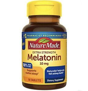 Nature Made Extra Strength Melatonin 10 mg Tablets 70 Count Sleep Aid Exp 11/22