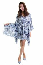 Ellie Mei Women's Printed Chiffon Maxi Cover-Up KHL-EM66 Blue Black