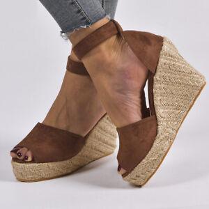 Womens Ankle Buckle High Heel Wedge Sandals Comfortable Peep Toe Platform Shoes