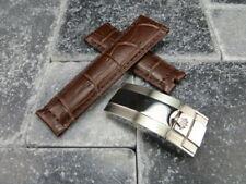 20mm Leather Strap Navy Brown Watch Band Rolex Daytona SUBMARINER Silver Buckle