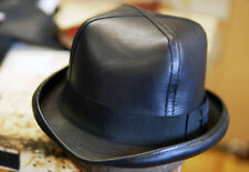 95d6aa72d35bb GENUINE BLACK LEATHER CLASSIC FORMAL MENS KENTUCKY DERBY STYLE HAT