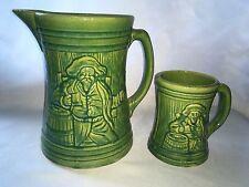 Vintage 1926 Nelson McCoy Pottery Sheild Mark STONEWARE TANKARD Pitcher & MUG