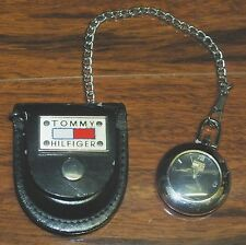 Genuine Tommy Hilfiger (1238) Water Resistant Pocket Watch w/ Leather Case *READ