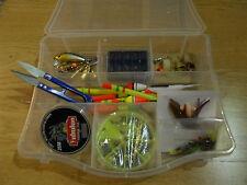 Kit de iniciación para pescar. Moscas, Cucharillas, Anzuelos, Plomos, Flotadores