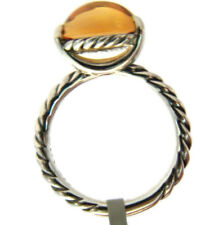 David Yurman 12x10mm Oval Citrine Silver Stack Ring Size 7 NWT
