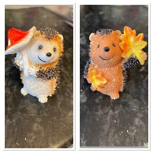 Little Autumn Hedgehogs Bundle Of 2 rubber latex Moulds Molds Casting Craft