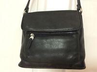 Womens Leather Crossbody Handbag Organizational Pockets Black Shoulder Strap H20