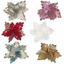 Christmas Decoration - Glitter Poinsettia 30cm with Clip - Choose Colour