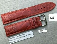 Watch Strap Band Handmade #22 22mm/20mm Red Genuine Ostrich Leather