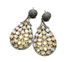 Sterling Silver Rainbow Moonstone White Topaz Danglers Long Earring Jewelry