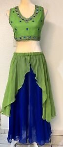 Womens Belly Dance, Lime Green Beaded Choli Top & Layered Chiffon Skirt Size:S/M