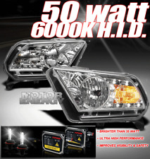 10-14 FORD MUSTANG BASE/GT DRL LED CRYSTAL HEADLIGHT+50W HID KIT DAYTIME RUNNING