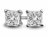 1.25 ct.  Princess White Sapphire Stud Earrings set in Solid Sterling Silver