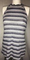 Women's Size Medium H.I.P Sleeveless Turtleneck Striped Top Shirt Made USA