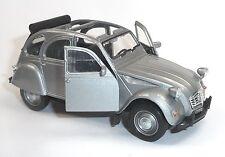 Citroen 2CV Ente Modellauto 1:34  WELLY Metall Spritzguss ca. 12cm silber/offen