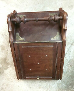 Antique Wooden Coal Scuttle Box with Brass Trims