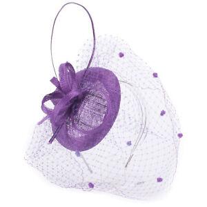 Womens Derby Sinamay Veil Netting Fascinator Wedding Racing Hat Headpiece T434