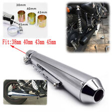 Dia. 45mm Steel Shorty Exhaust Muffler Cruiser Bobber Chopper Cafe Racer Amazing
