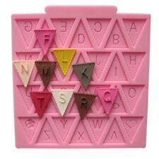 Baby Shower Bunting Flags Fiesta 3D Silicona Molde Fondant Pastel Decoración Topper