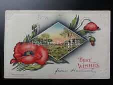 Embossed Poppy Postcard: BEST WISHES c1911 by P.Riche - U.S.