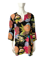 Kikisol Colorful Women's Floral Tunic Top Shirt Blouse 3/4 Sleeve Size Small