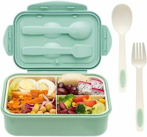 1400ml Green Lunch Box with Compartments. Fork and Spoon included and carry bag