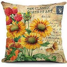 Retro Vintage Sunflowers Linen Home Decorative Pillow Case Cushion Cover 18''