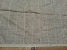 Wheat Colored 100% Linen Fabric With White Plaid Window Panes 4 Yards x 44""
