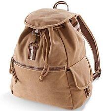 Vintage Canvas Backpack Rucksack School Student College Pack Bag Daypack Sand