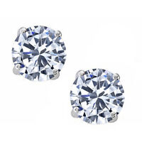 0.20 - 4.00 CT. 14K White Gold White Sapphire Round Stud w/ Screw Back Earrings